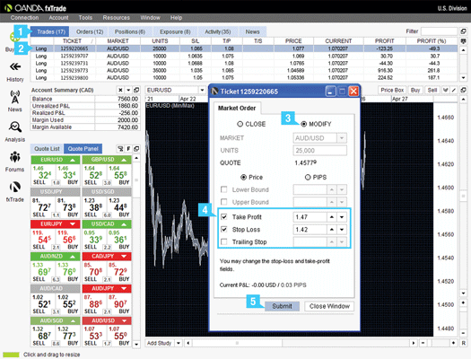 how to add options to close trades automatically to OANDA fxTrade
